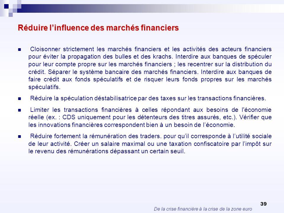 Réduire l'influence des marchés financiers