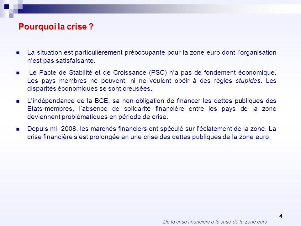 Pourquoi la crise La situation est particulièrement préoccupante pour la zone euro dont l'organisation n'est pas satisfaisante.