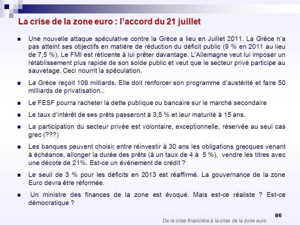 La crise de la zone euro : l'accord du 21 juillet