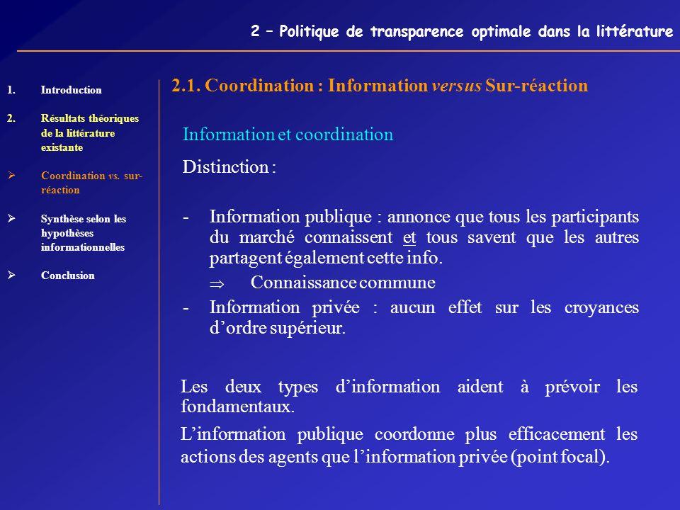 2 – Politique de transparence optimale dans la littérature