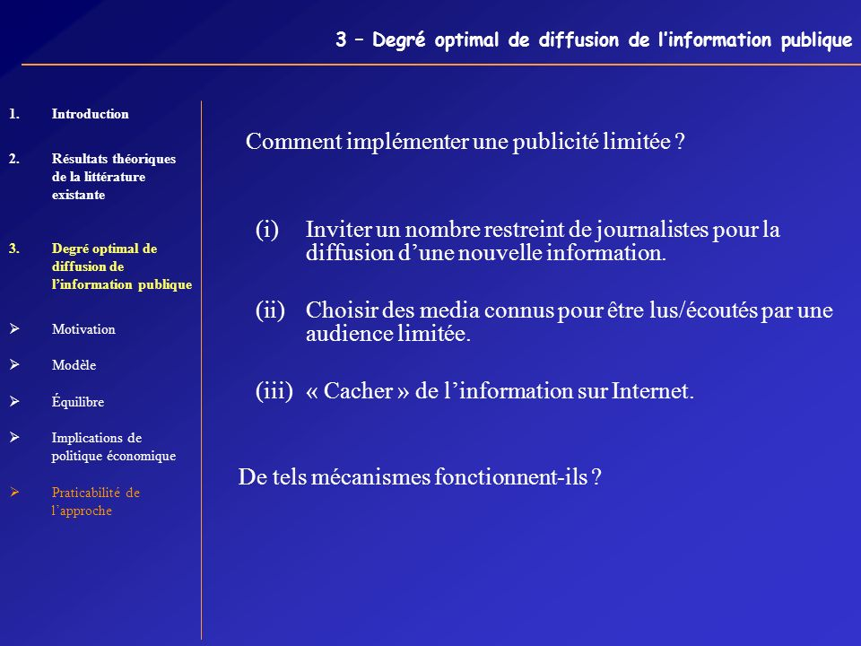 3 – Degré optimal de diffusion de l'information publique