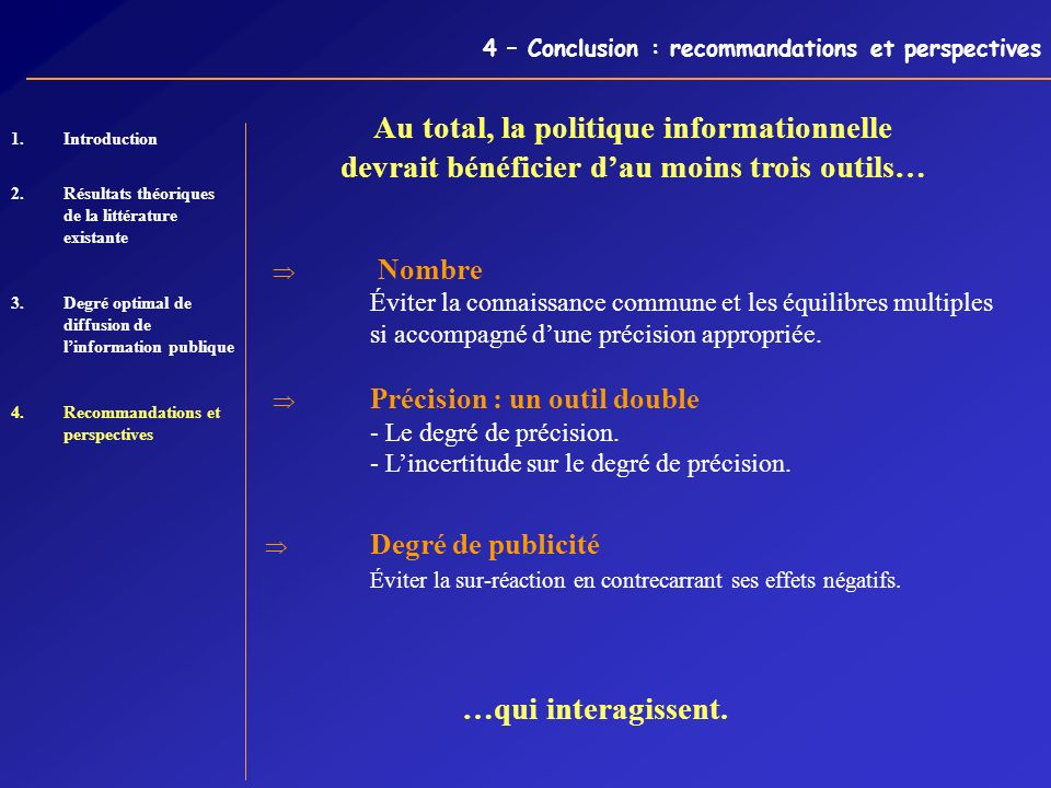 4 – Conclusion : recommandations et perspectives