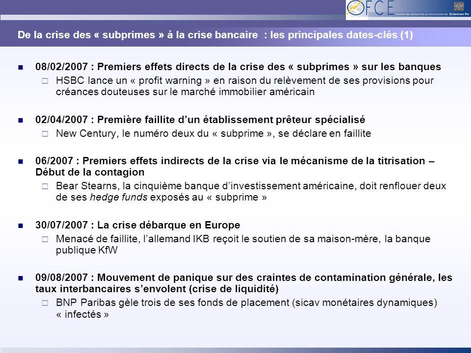 De la crise des « subprimes » à la crise bancaire : les principales dates-clés (1)