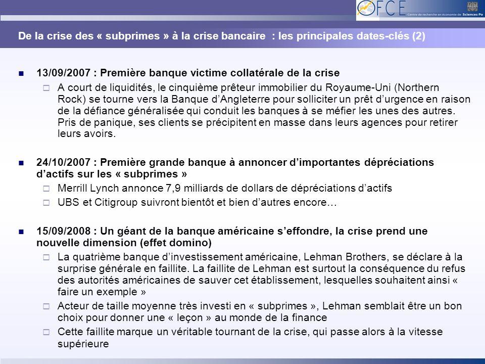 De la crise des « subprimes » à la crise bancaire : les principales dates-clés (2)