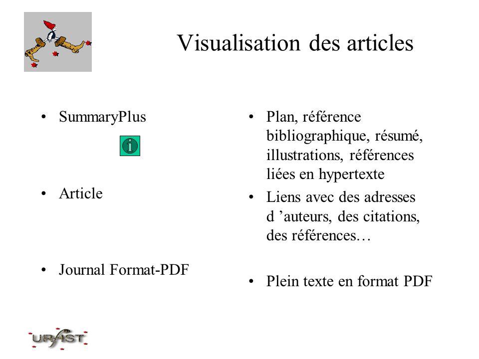 Visualisation des articles