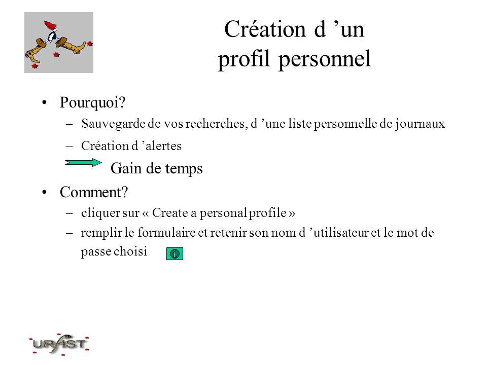 Création d 'un profil personnel