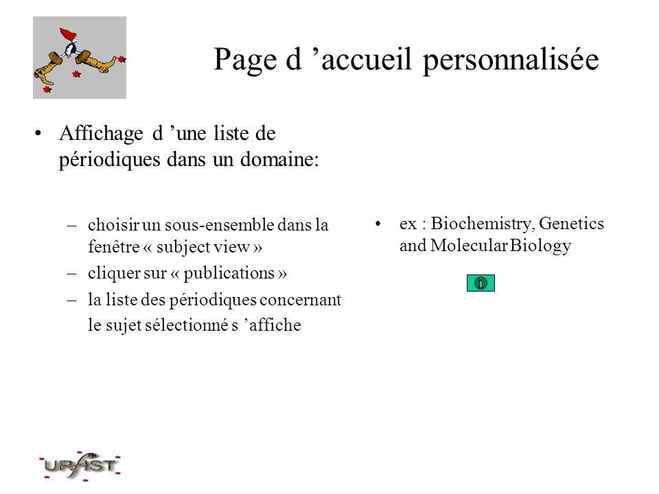 Page d 'accueil personnalisée