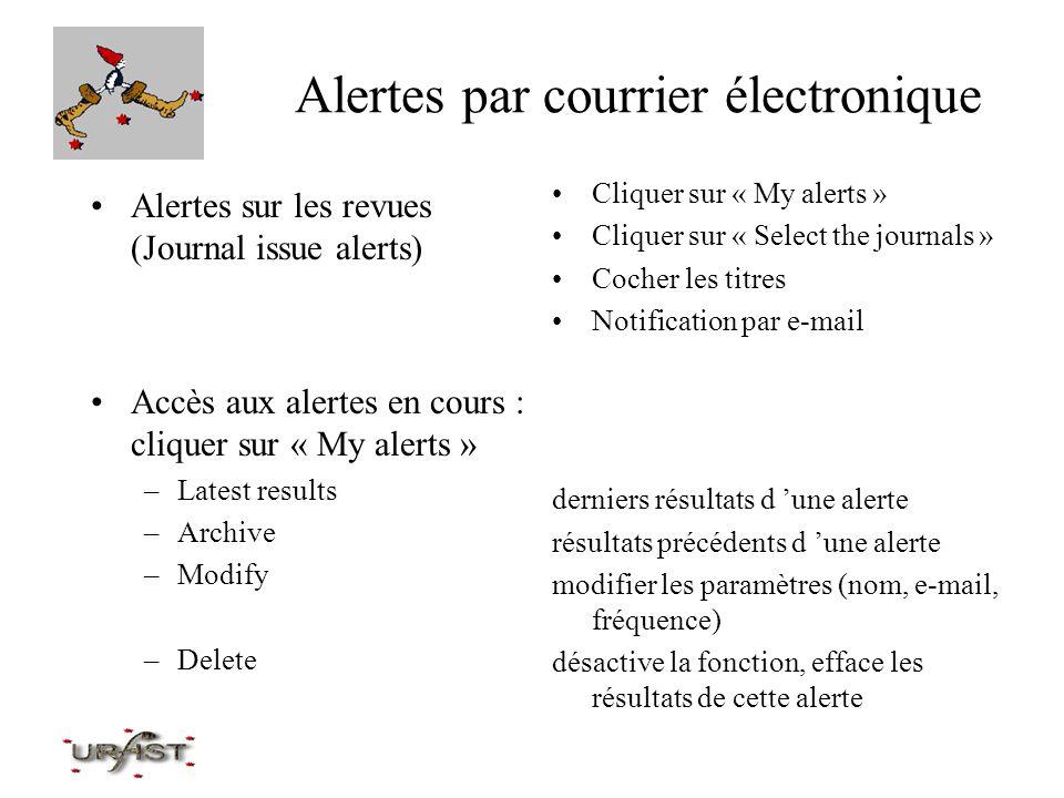 Alertes par courrier électronique