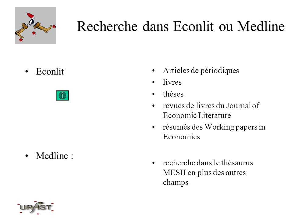 Recherche dans Econlit ou Medline