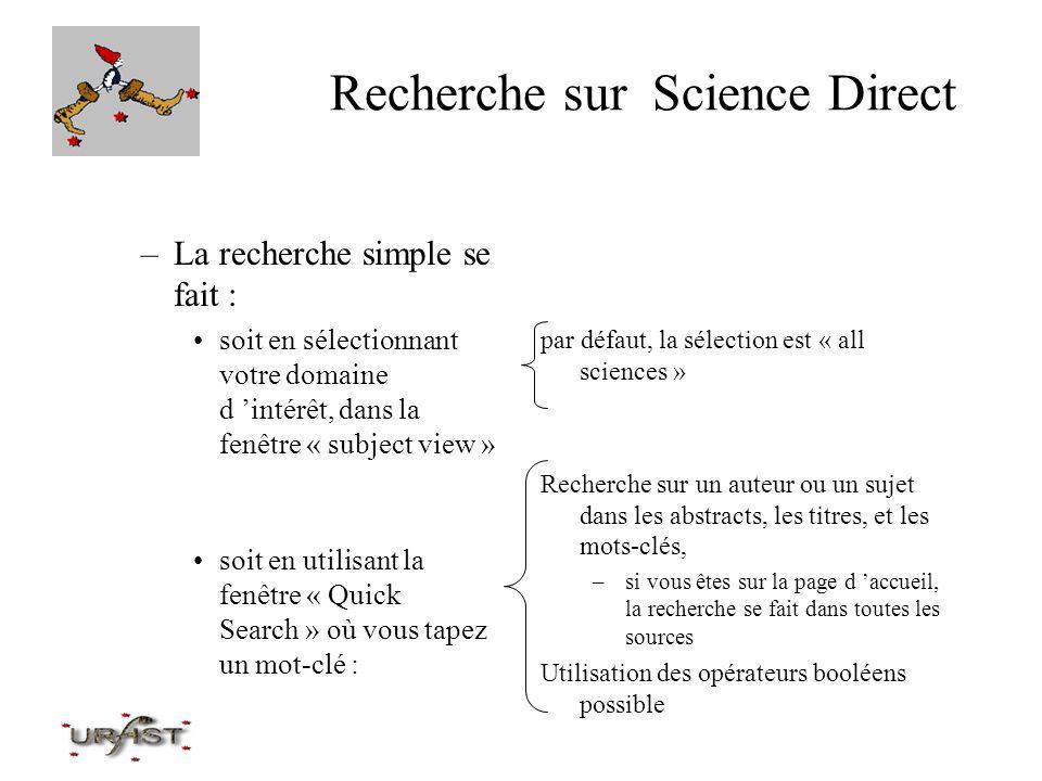 Recherche sur Science Direct