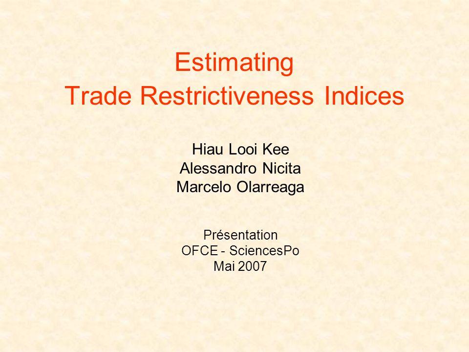 Estimating Trade Restrictiveness Indices