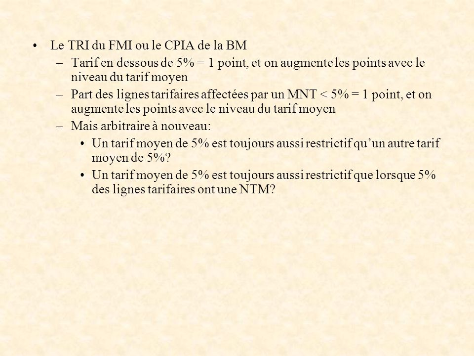 Le TRI du FMI ou le CPIA de la BM