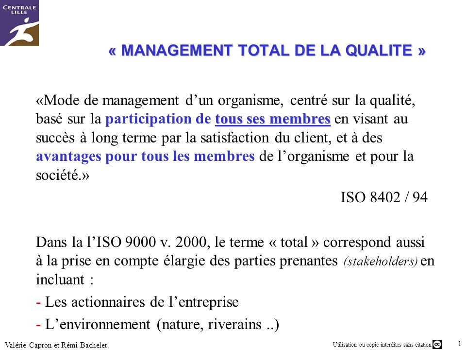 « MANAGEMENT TOTAL DE LA QUALITE »