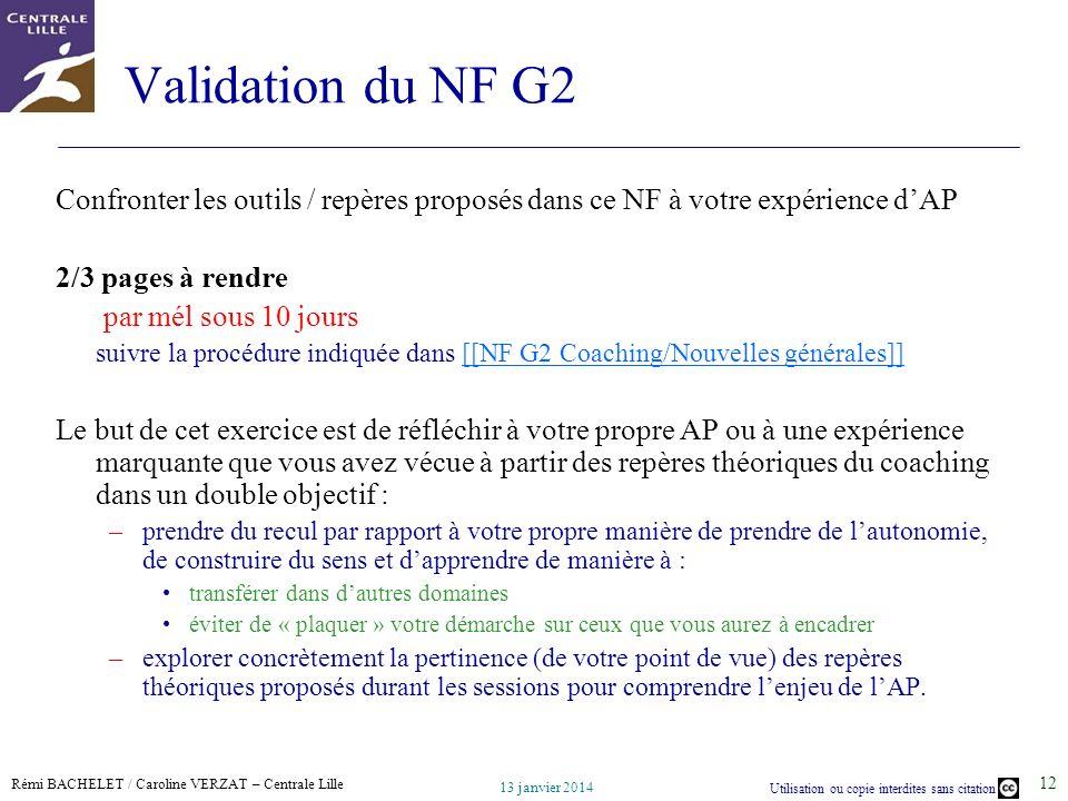 Validation du NF G2 Confronter les outils / repères proposés dans ce NF à votre expérience d'AP. 2/3 pages à rendre.