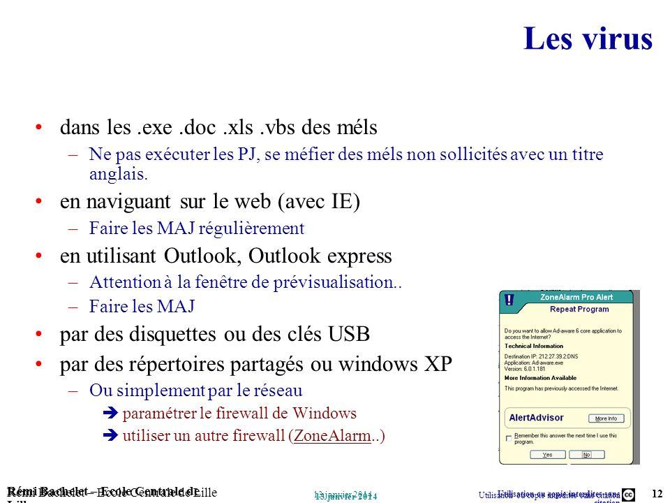 Les virus dans les .exe .doc .xls .vbs des méls