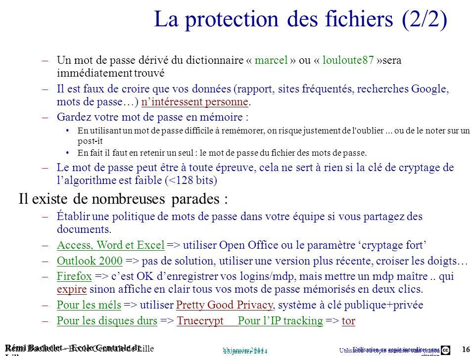 La protection des fichiers (2/2)