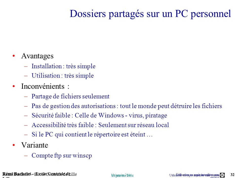 Dossiers partagés sur un PC personnel