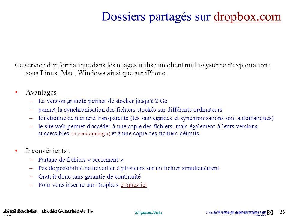 Dossiers partagés sur dropbox.com