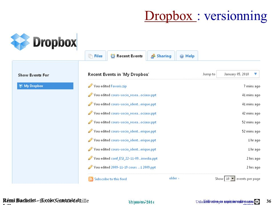 Dropbox : versionning