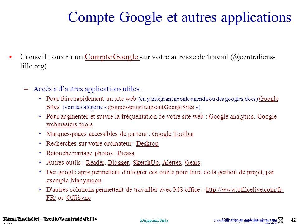 Compte Google et autres applications