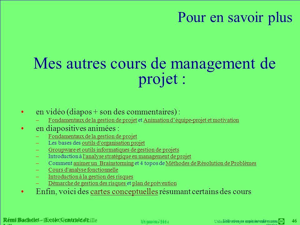 Mes autres cours de management de projet :