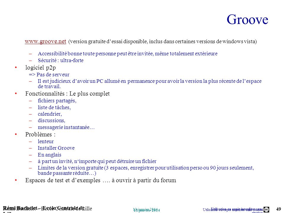Groove www.groove.net (version gratuite d'essai disponible, inclus dans certaines versions de windows vista)