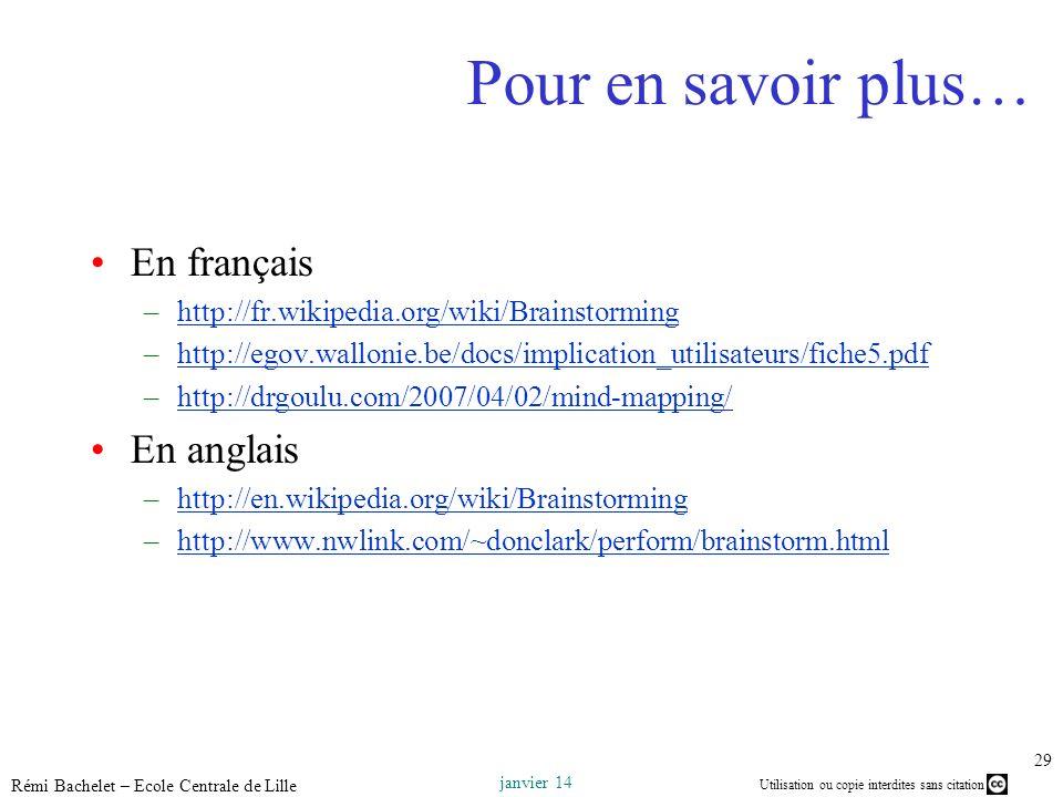 Pour en savoir plus… En français En anglais