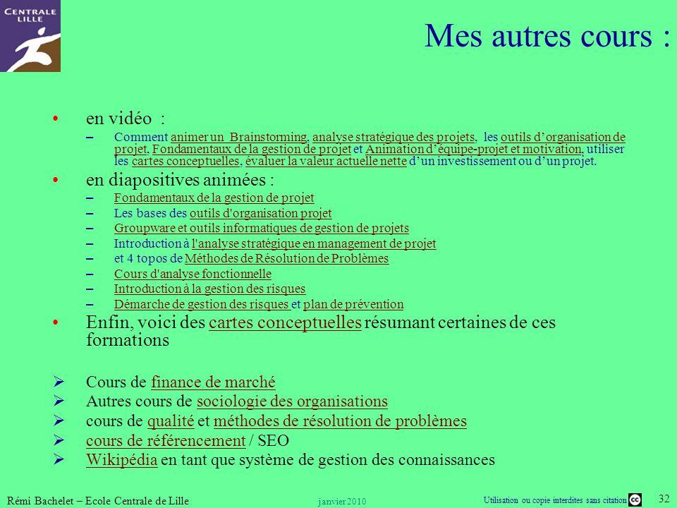Mes autres cours : en vidéo : en diapositives animées :