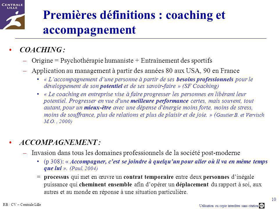 Premières définitions : coaching et accompagnement