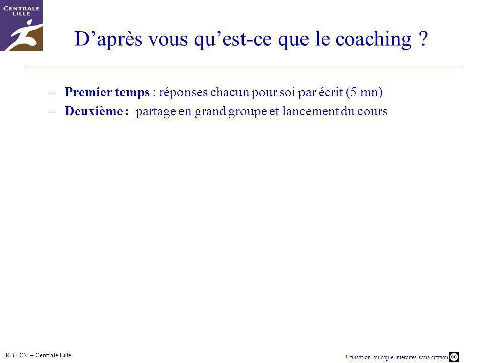 D'après vous qu'est-ce que le coaching