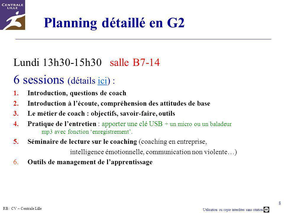 Planning détaillé en G2 6 sessions (détails ici) :