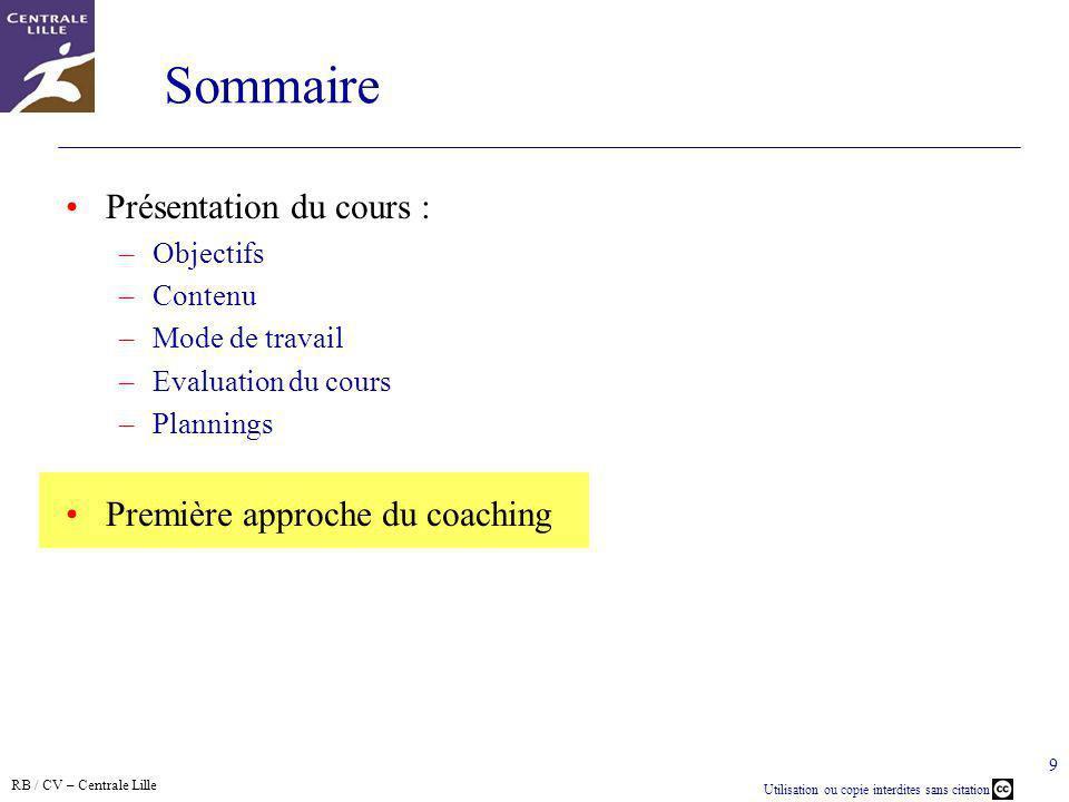 Sommaire Présentation du cours : Première approche du coaching