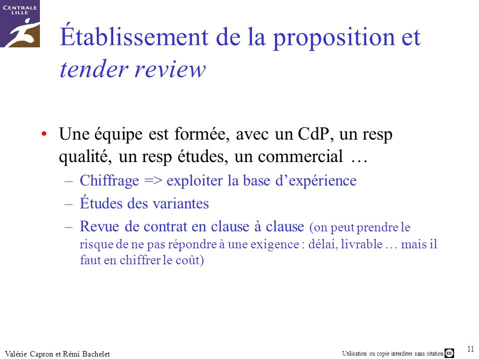 Établissement de la proposition et tender review