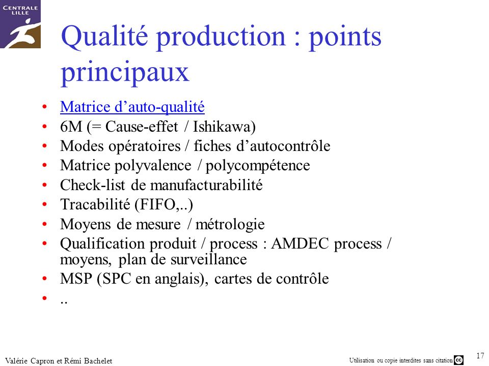 Qualité production : points principaux