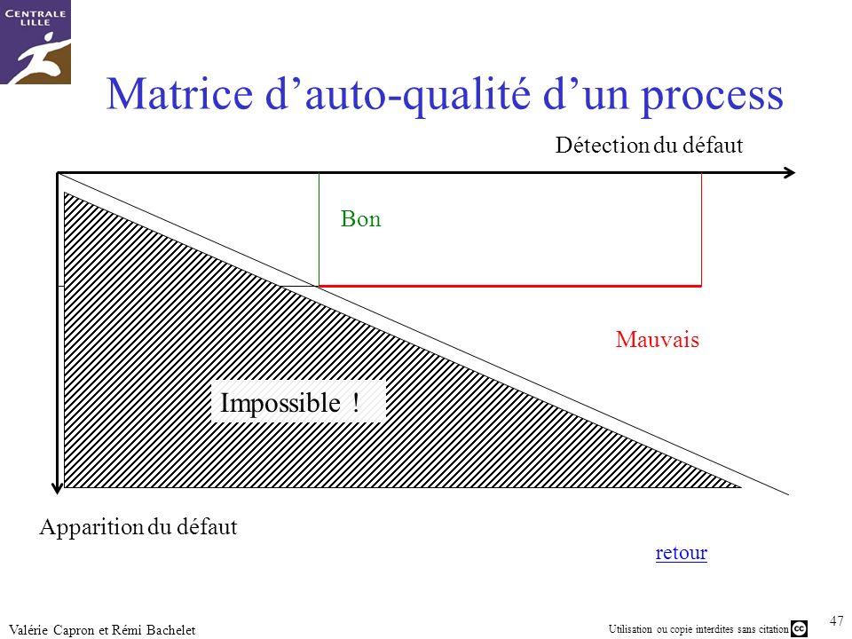 Matrice d'auto-qualité d'un process