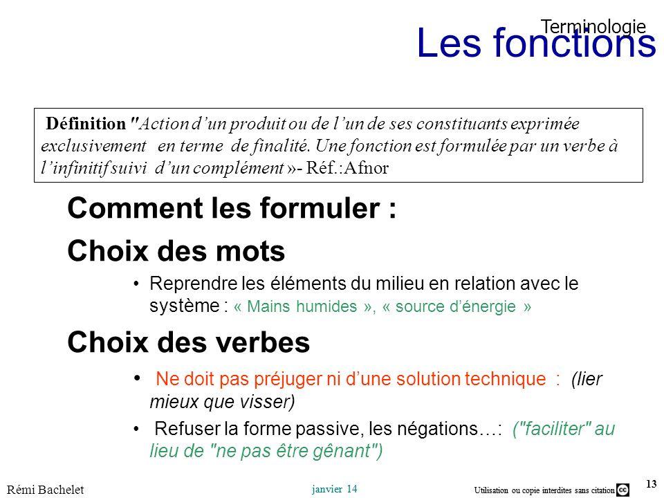 Les fonctions Comment les formuler : Choix des mots Choix des verbes