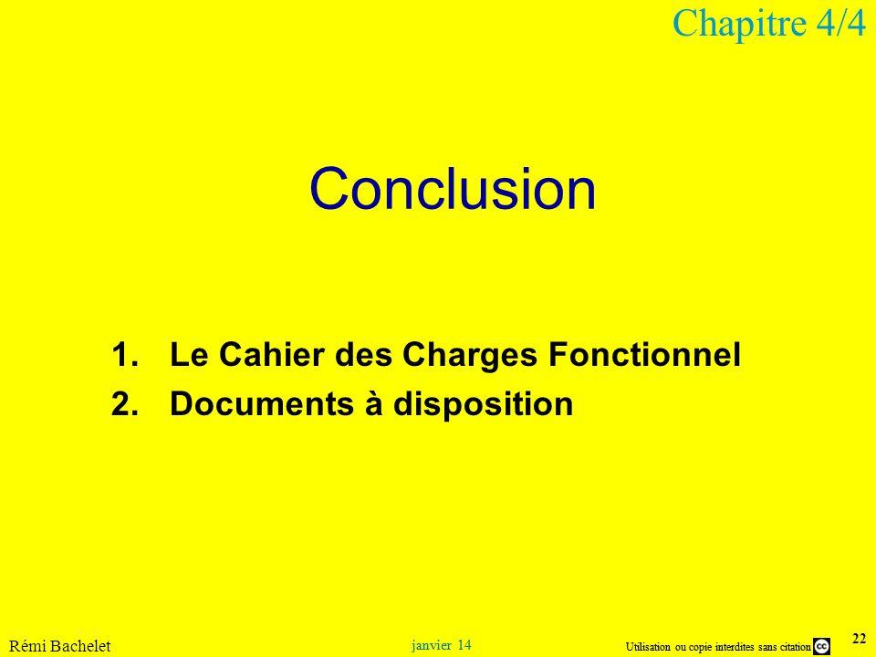 Conclusion Chapitre 4/4 Le Cahier des Charges Fonctionnel