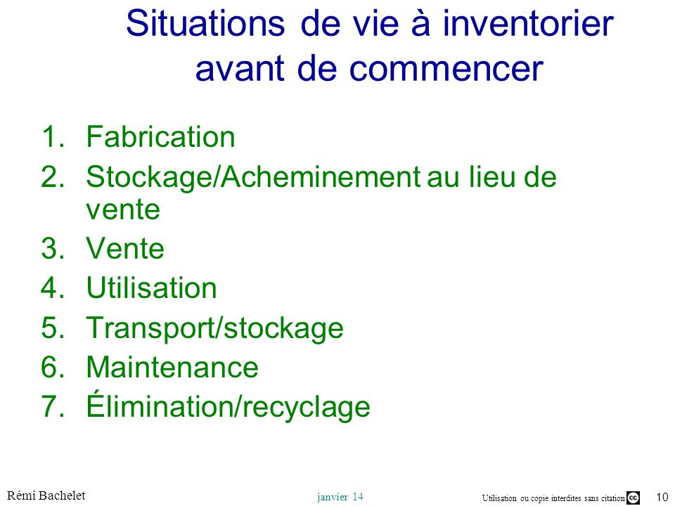 Situations de vie à inventorier avant de commencer