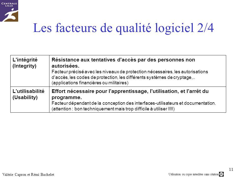 Les facteurs de qualité logiciel 2/4