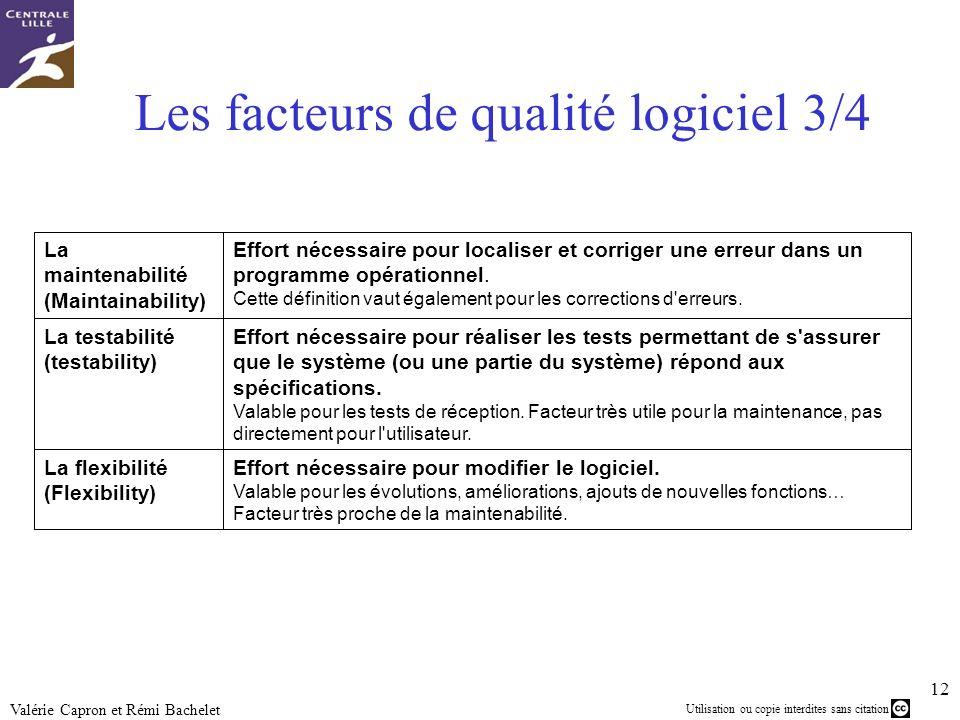 Les facteurs de qualité logiciel 3/4