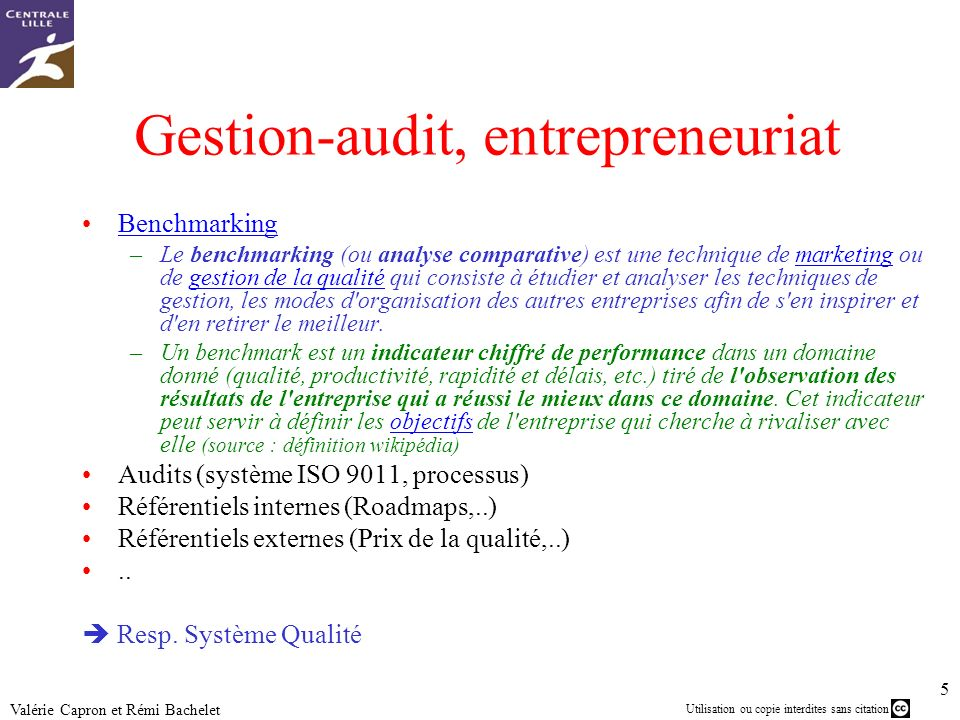 Gestion-audit, entrepreneuriat