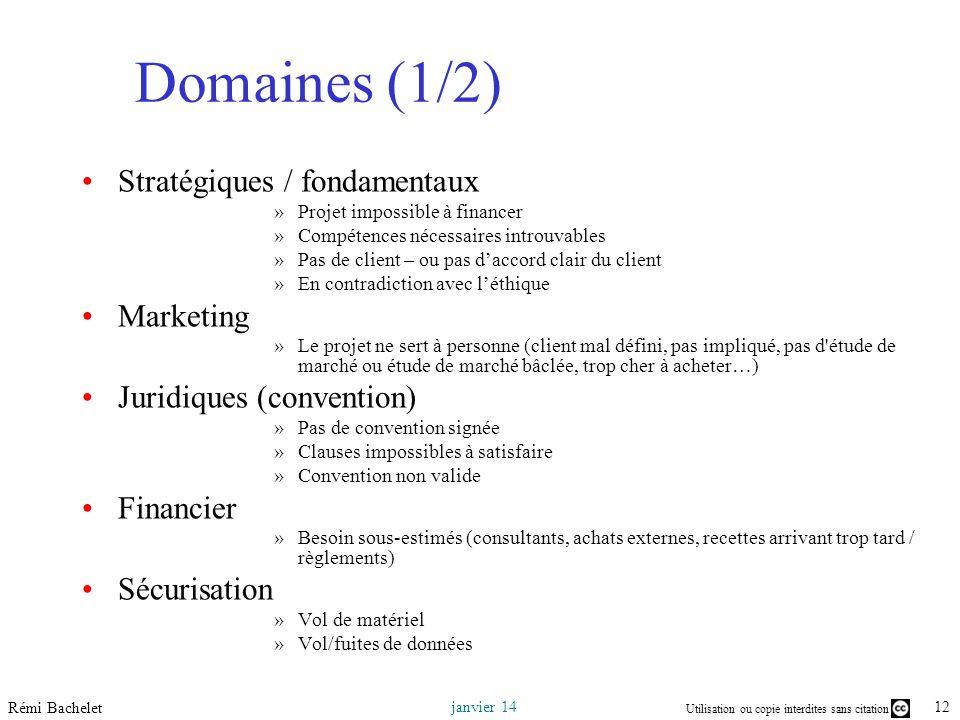 Domaines (1/2) Stratégiques / fondamentaux Marketing