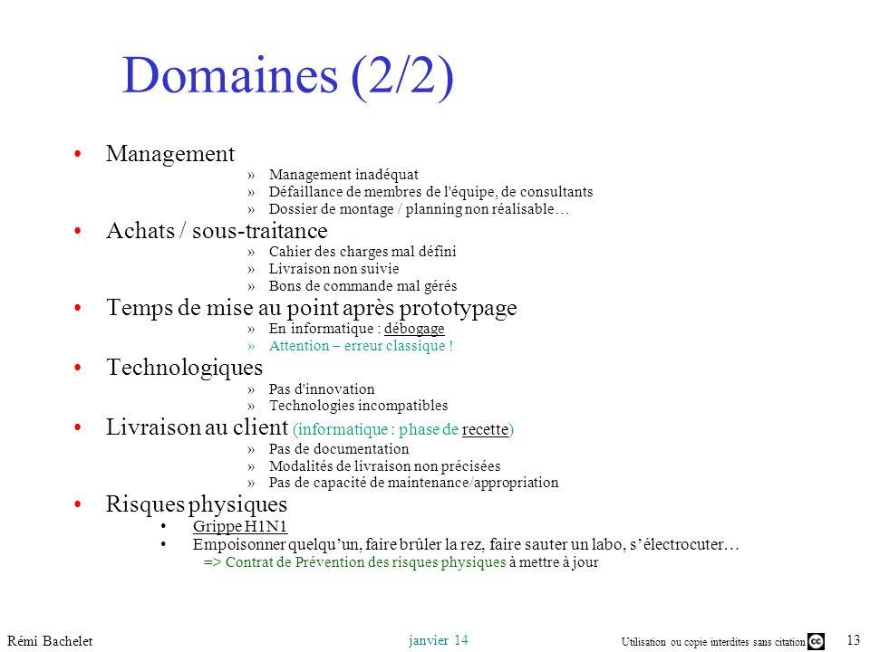 Domaines (2/2) Management Achats / sous-traitance
