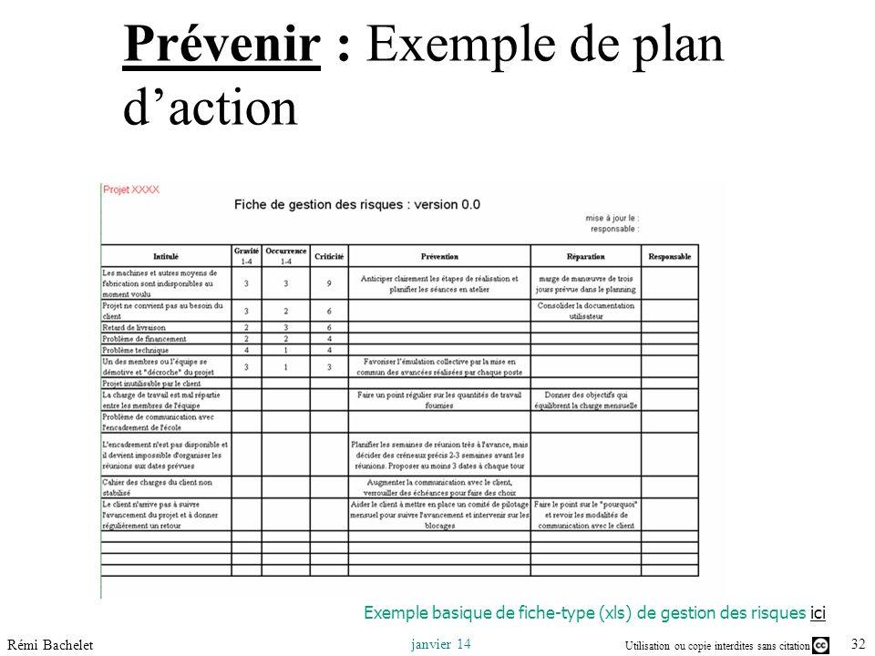 Prévenir : Exemple de plan d'action