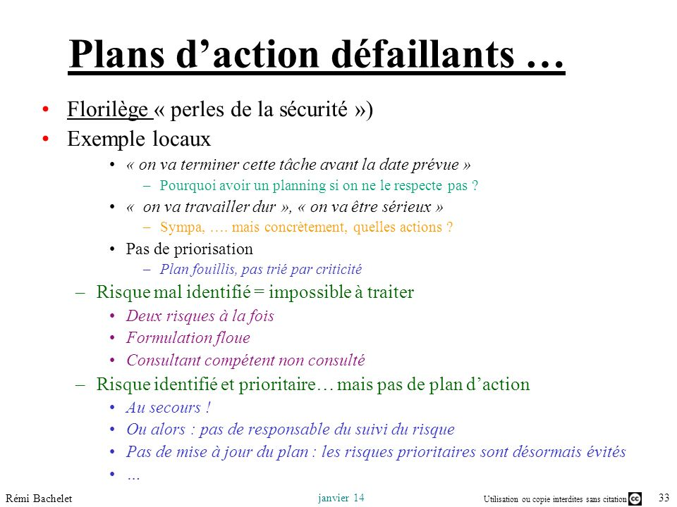 Plans d'action défaillants …