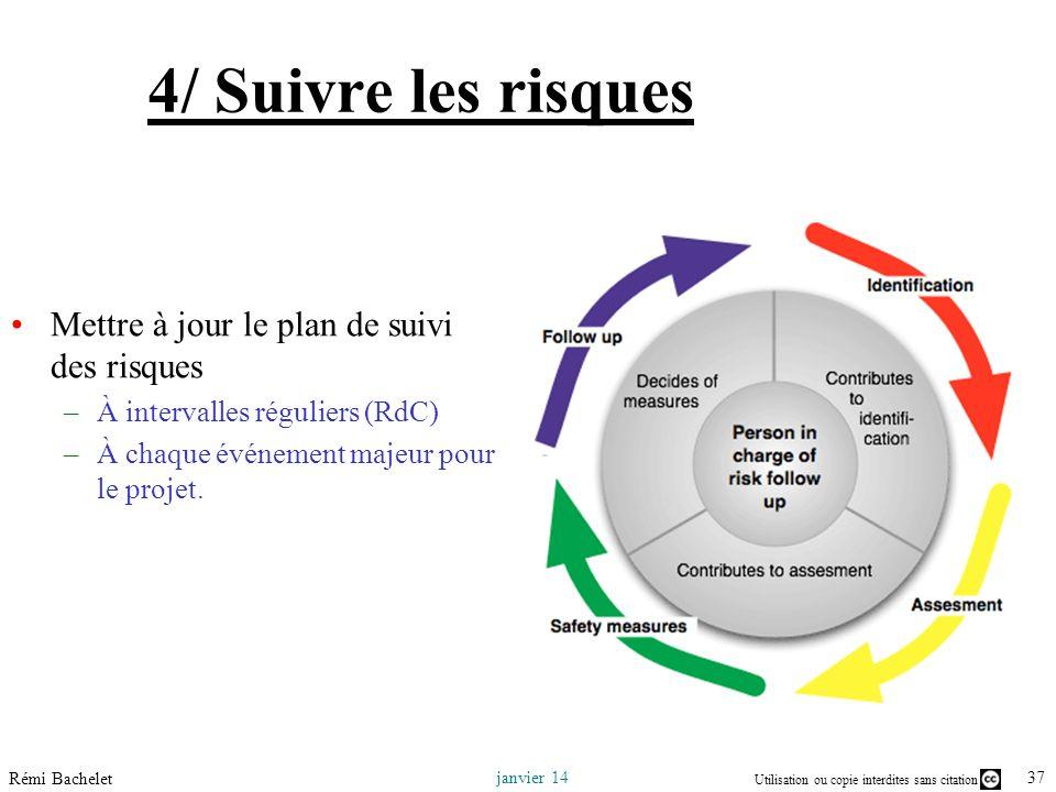 4/ Suivre les risques Mettre à jour le plan de suivi des risques