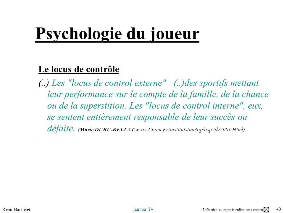 Psychologie du joueur Le locus de contrôle