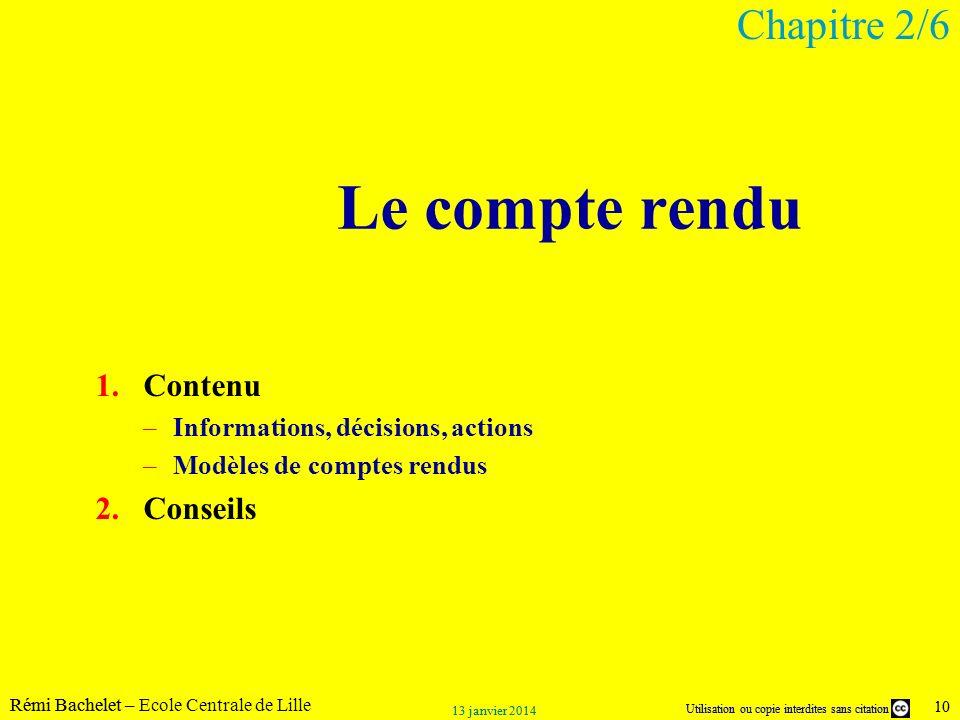 Le compte rendu Chapitre 2/6 Contenu Conseils