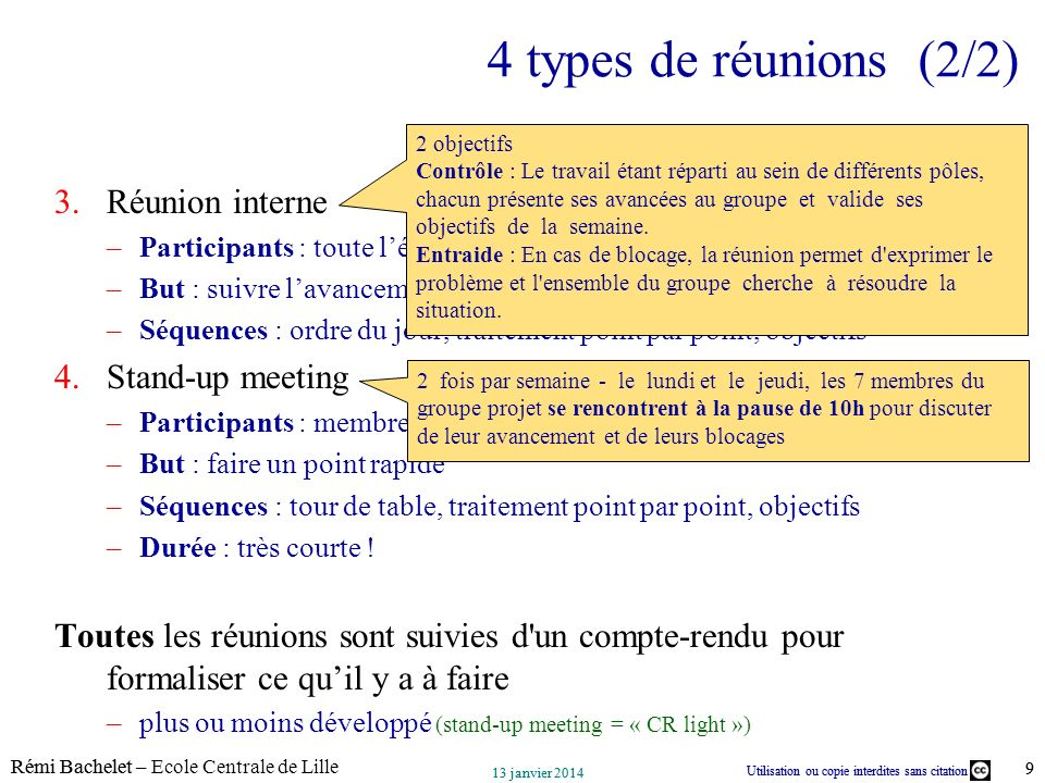 4 types de réunions (2/2) Réunion interne Stand-up meeting