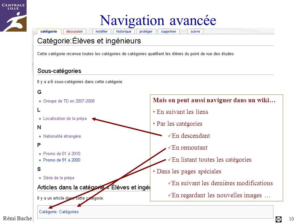 Navigation avancée Mais on peut aussi naviguer dans un wiki…